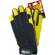 Rękawice ochronne wykonane z wysokiej jakości skóry bydlęcej połączonej z czarną tkaniną REIS RMECH BY