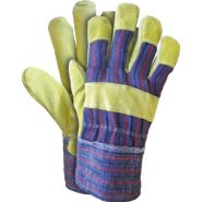 Rękawice ochronne wzmacniane skórą bydlęcą w kolorze żółtym REIS RSC