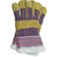 Rękawice ochronne ocieplane kożuszkiem wzmacniane skórą bydlęcą w kolorze żółtym REIS RSO